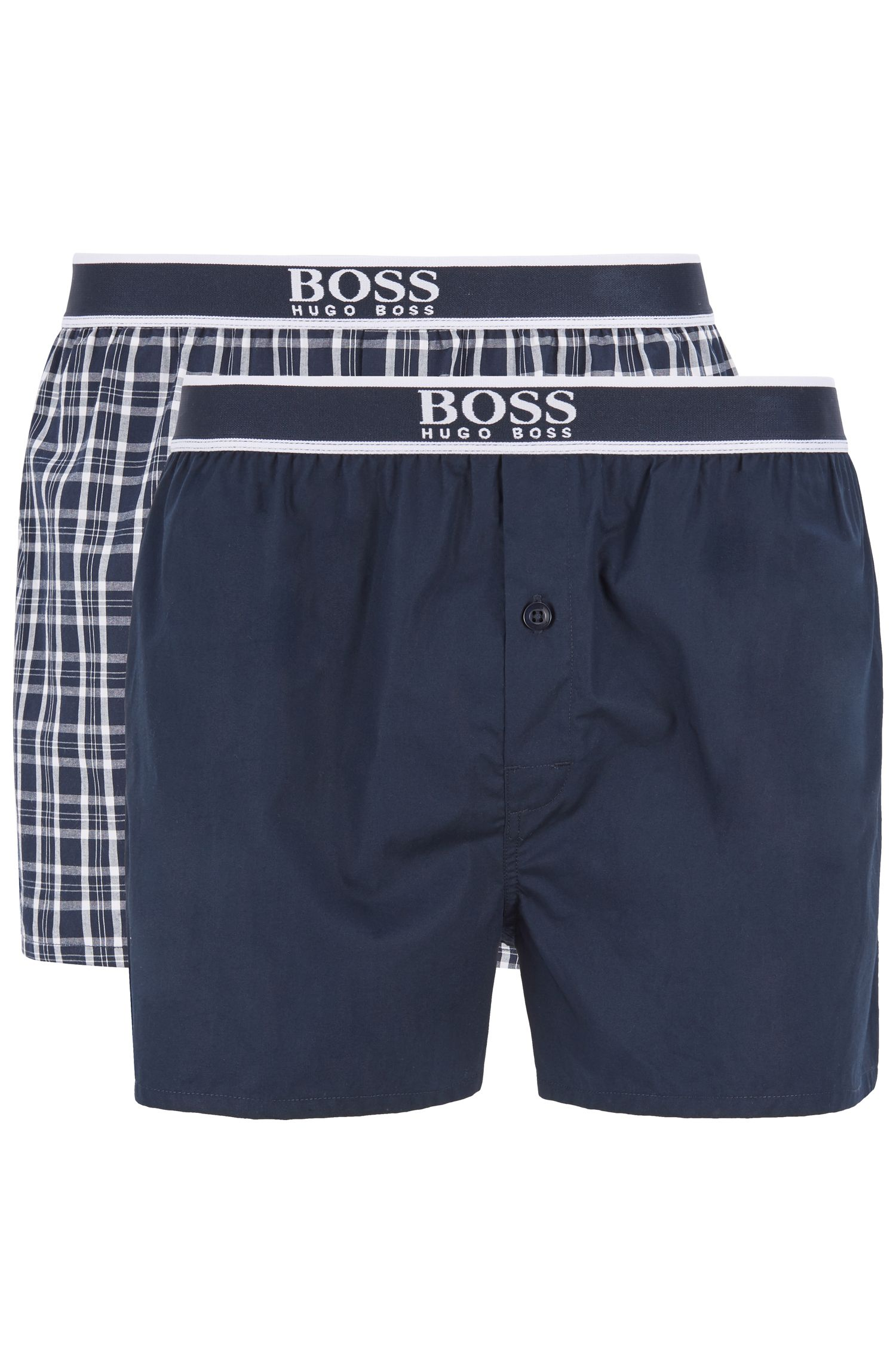 Set van twee pyjamashorts van katoenen popeline, Donkerblauw