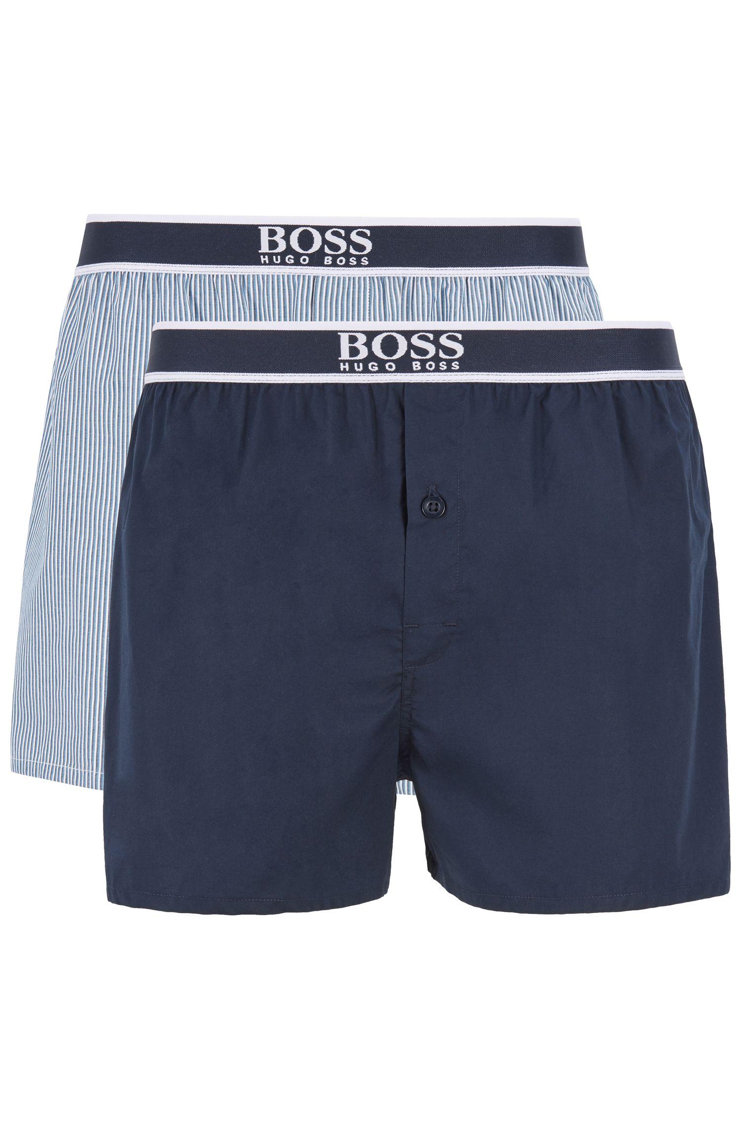 Pyjama-Shorts aus reiner Baumwolle im Zweier-Pack, Hellblau