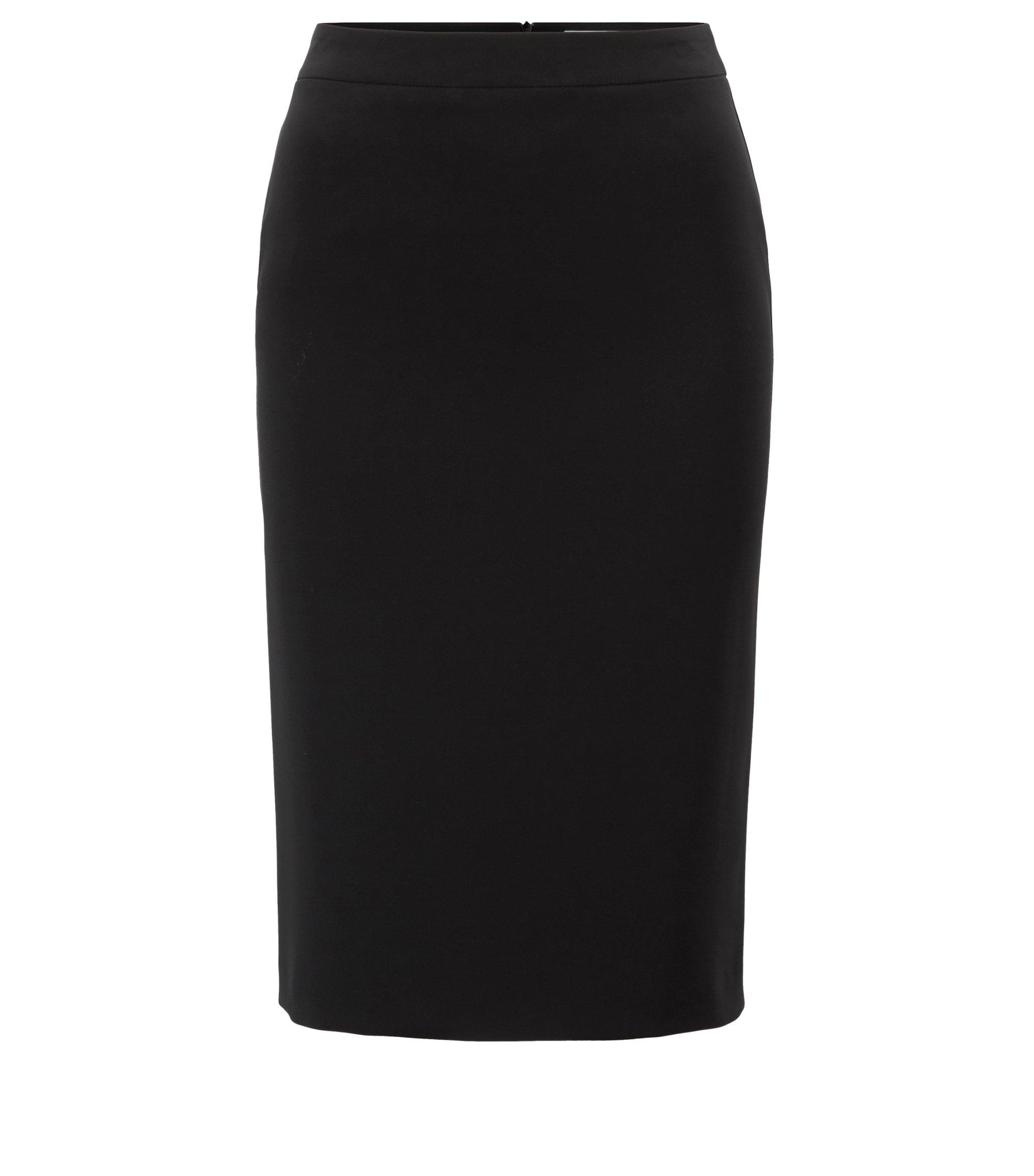 Pencil skirt in crease-resistant Japanese crepe, Zwart