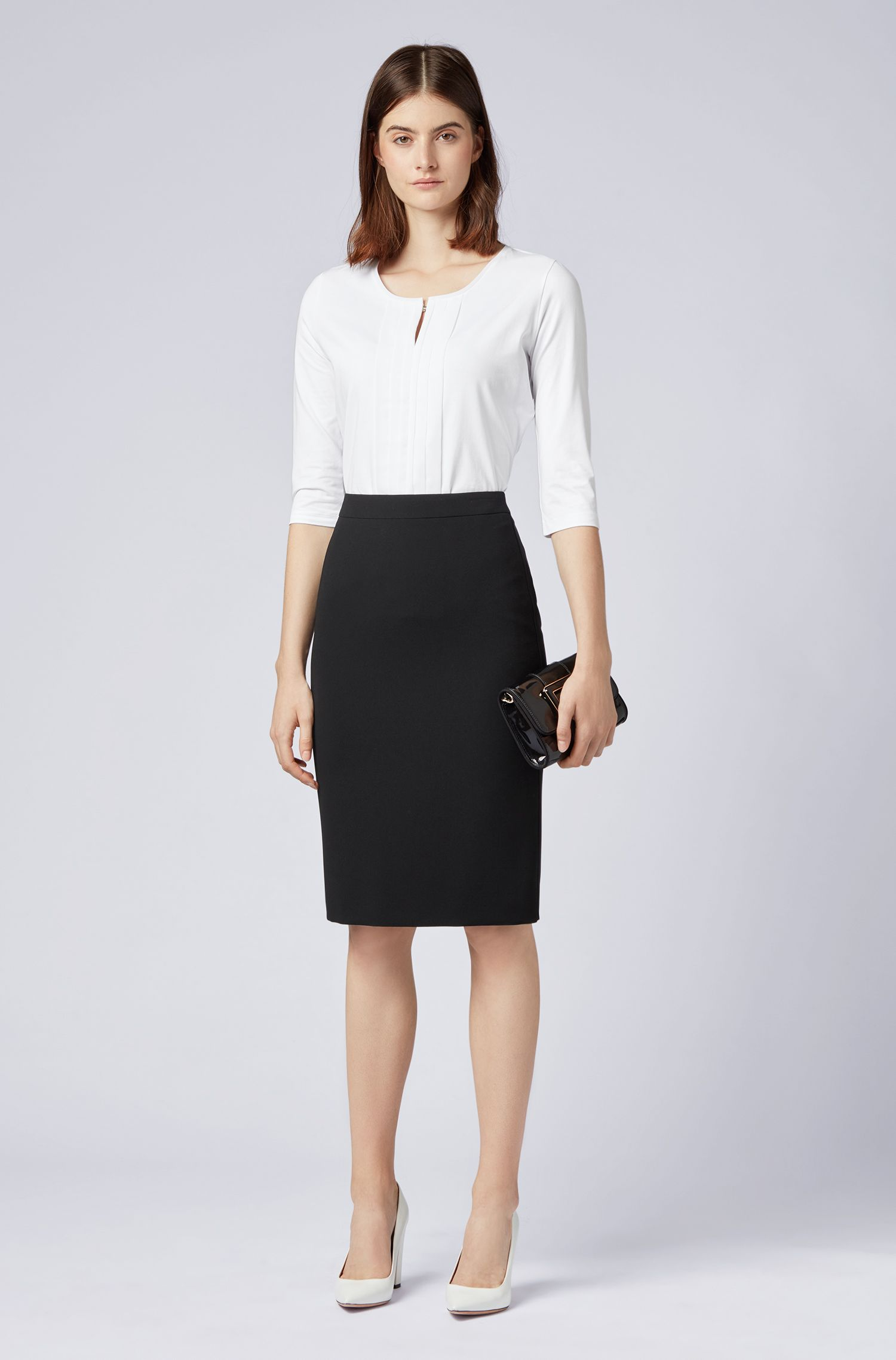 Pencil skirt in crease-resistant Japanese crepe, Black
