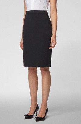 Pencil skirt in crease-resistant Japanese crepe, Black