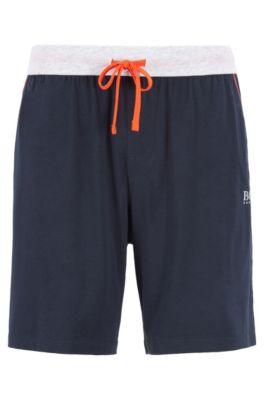 Pyjama-Shorts aus Stretch-Jersey mit kontrastfarbenen Paspeln und Tunnelzug, Dunkelblau