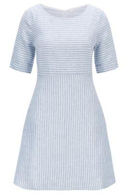 Slim-fit dress in striped linen canvas, Blue