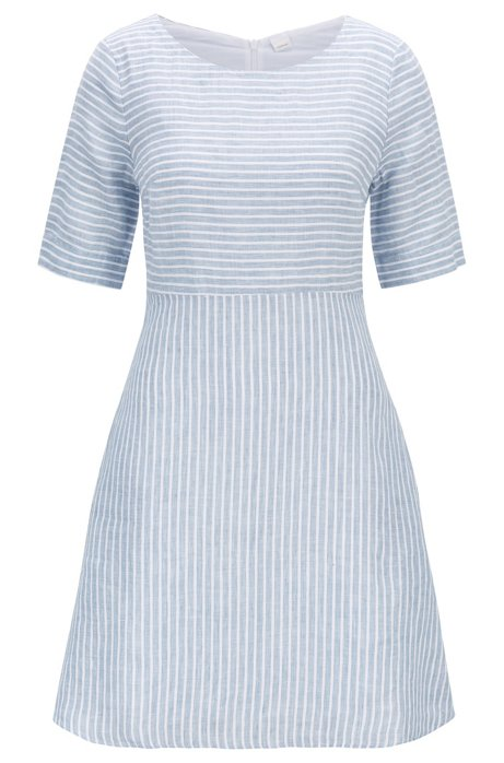 Slim-fit dress in striped linen canvas, Blue