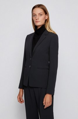 Regular-fit jacket in Japanese stretch crepe, Black