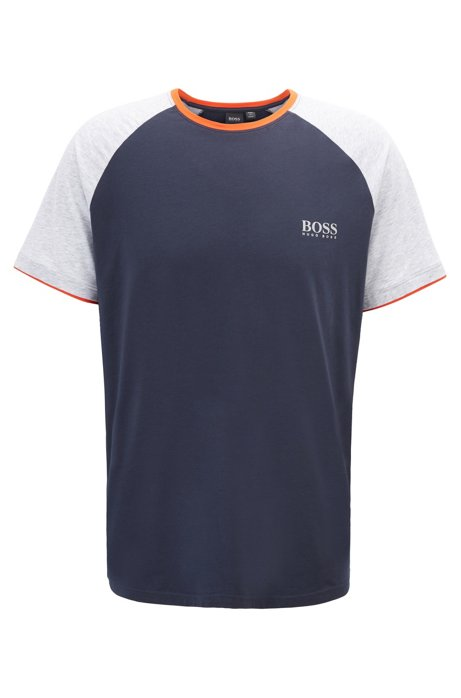 Regular-fit pyjama T-shirt with heat-sealed logo print, Dark Blue