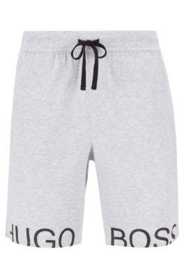 Pyjama-Shorts aus Stretch-Baumwolle mit Tunnelzug und Folien-Logo, Grau