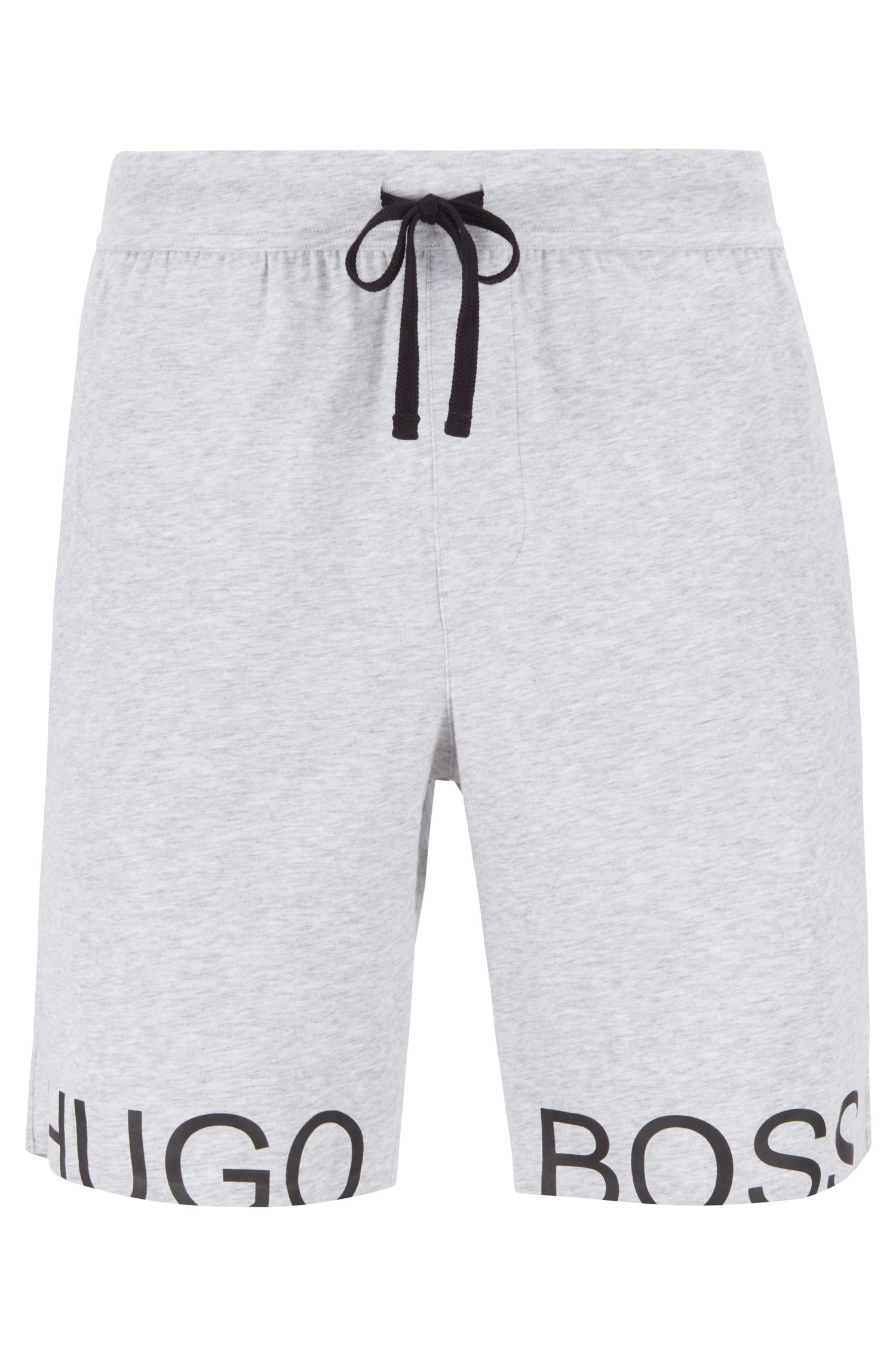 Drawstring pyjama shorts in stretch cotton with foil logo, Grey