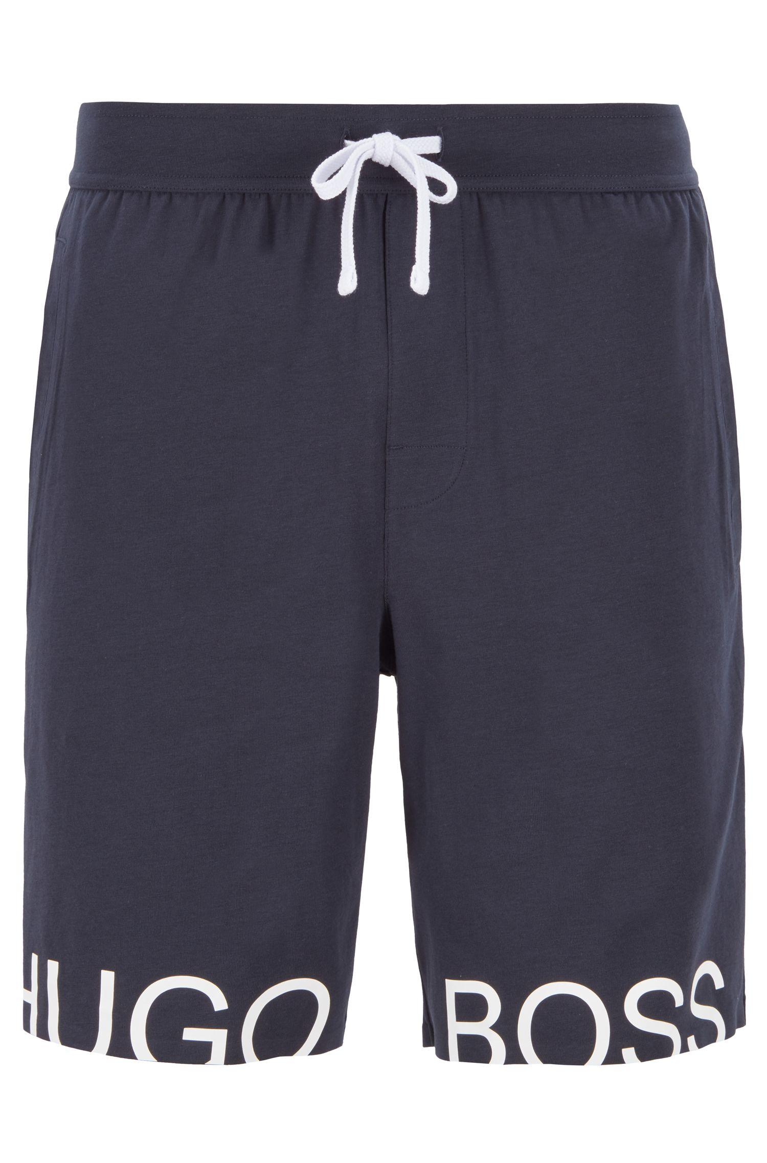 Aansnoerbare pyjamashort van stretchkatoen met folielogo, Donkerblauw