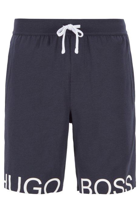 Drawstring pyjama shorts in stretch cotton with foil logo, Dark Blue