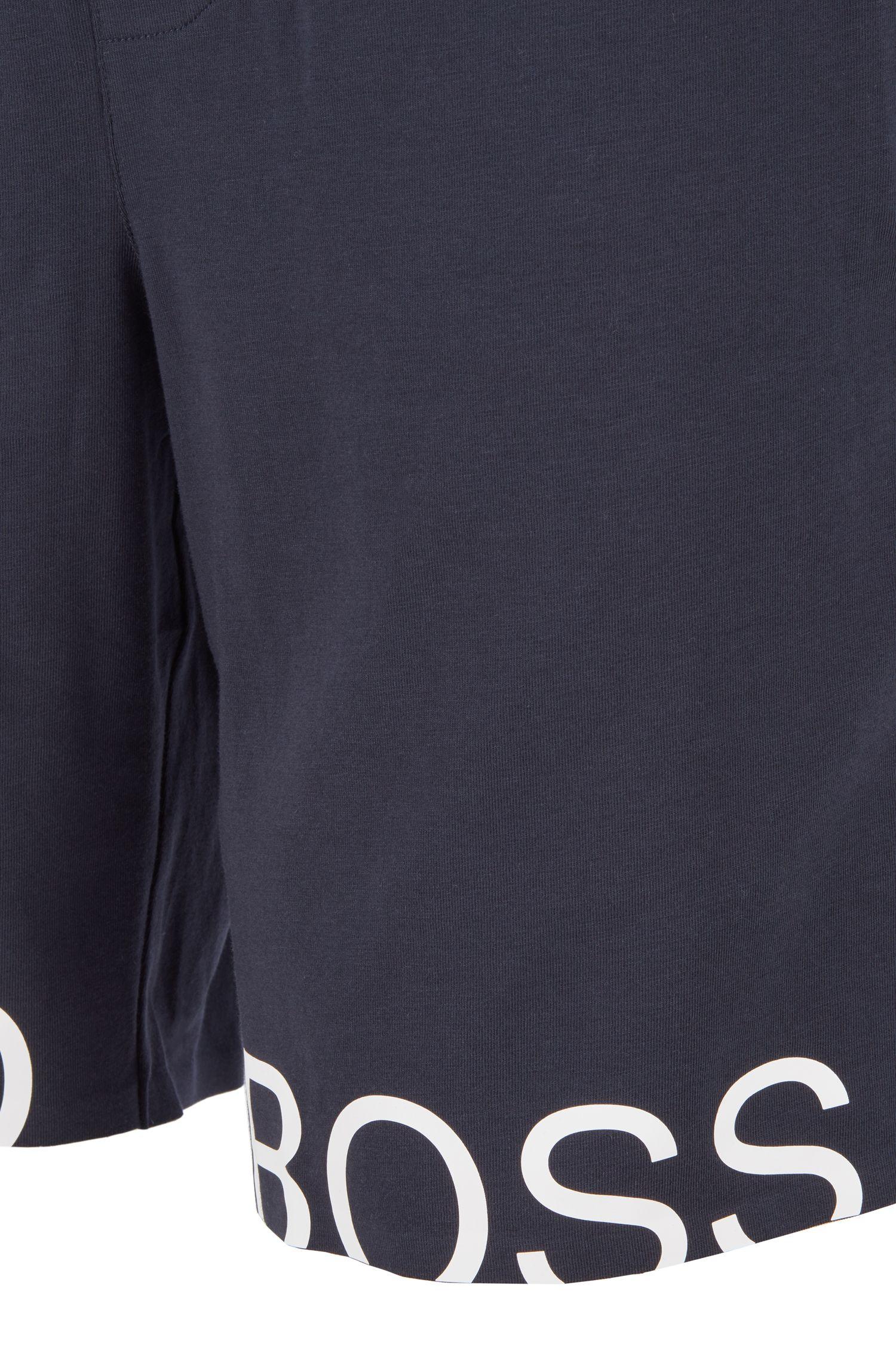 Shorts de pijama con cordón en algodón elástico con logo metálico, Azul oscuro