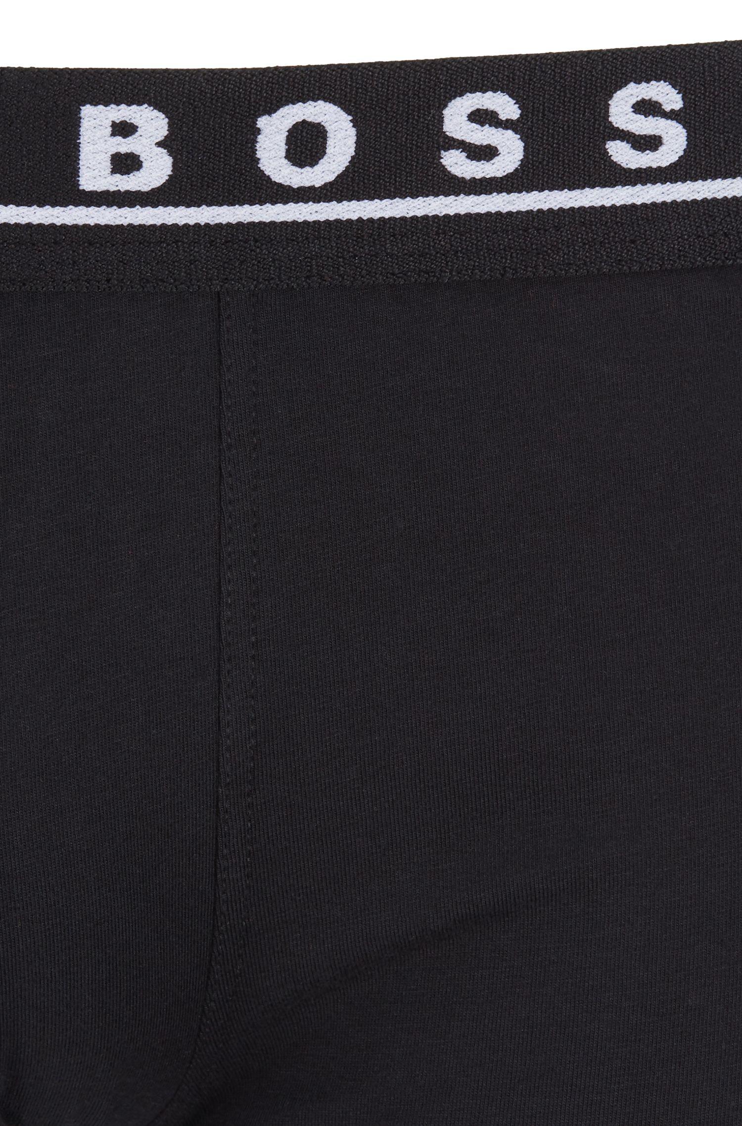 Lot de trois boxers courts en coton stretch, avec taille colorée, Fantaisie