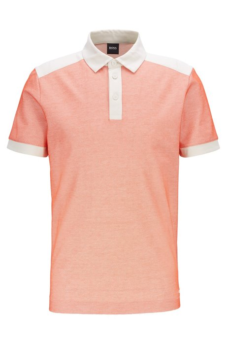 Polo Regular Fit en jacquard avec détails en jersey et en mesh, Orange