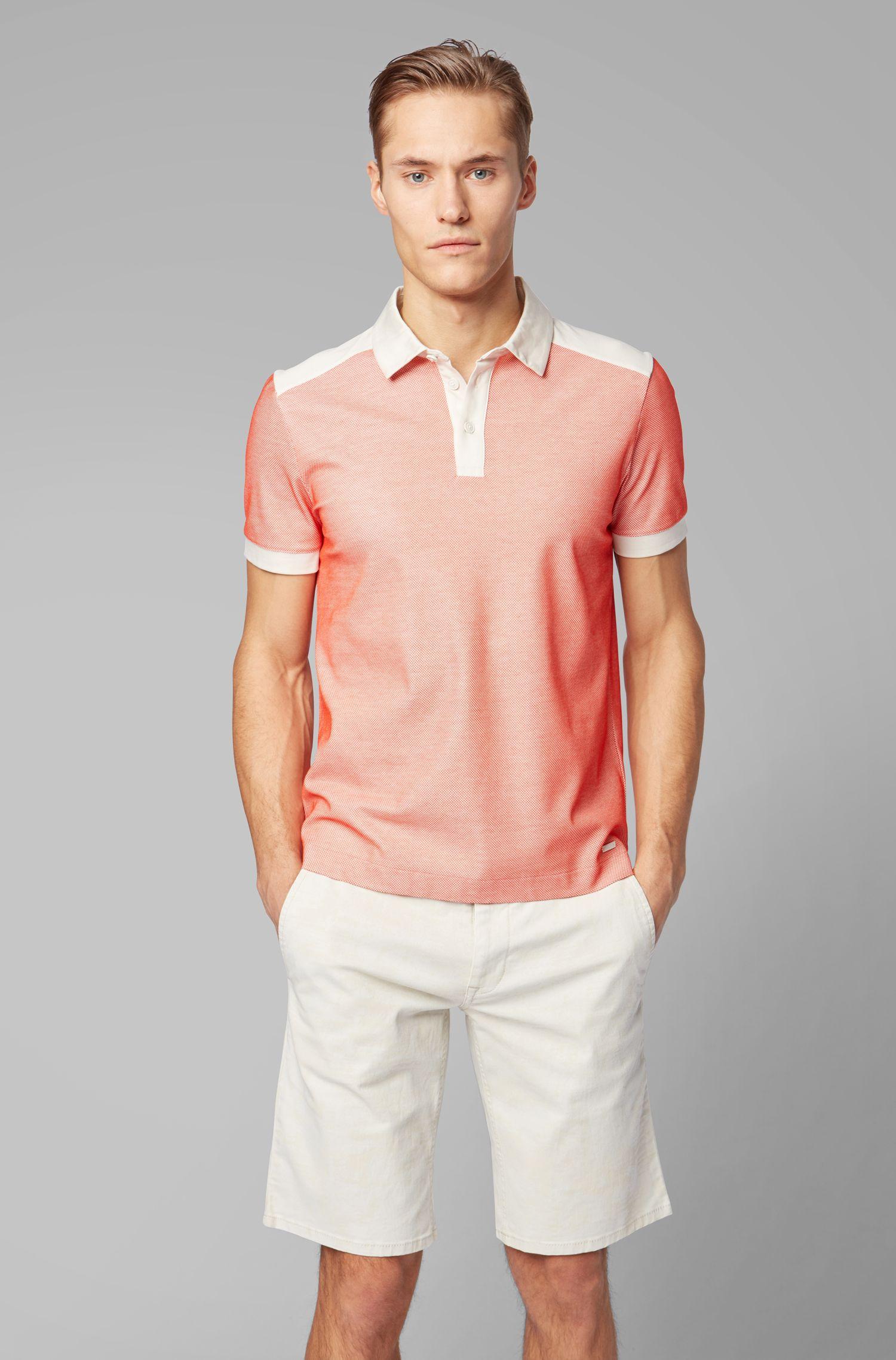 Polo regular fit in jersey jacquard a rete, Arancione