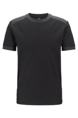 T-shirt a girocollo in cotone lavato con dettagli a contrasto tono su tono, Grigio antracite
