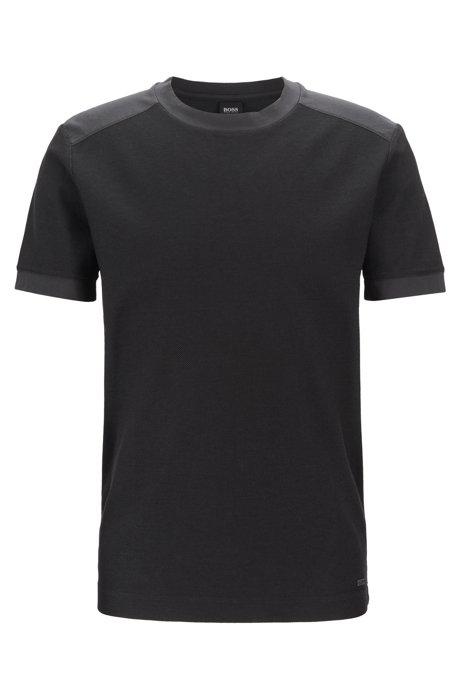 T-shirt à col rond en coton lavé, avec détails contrastants ton sur ton, Anthracite