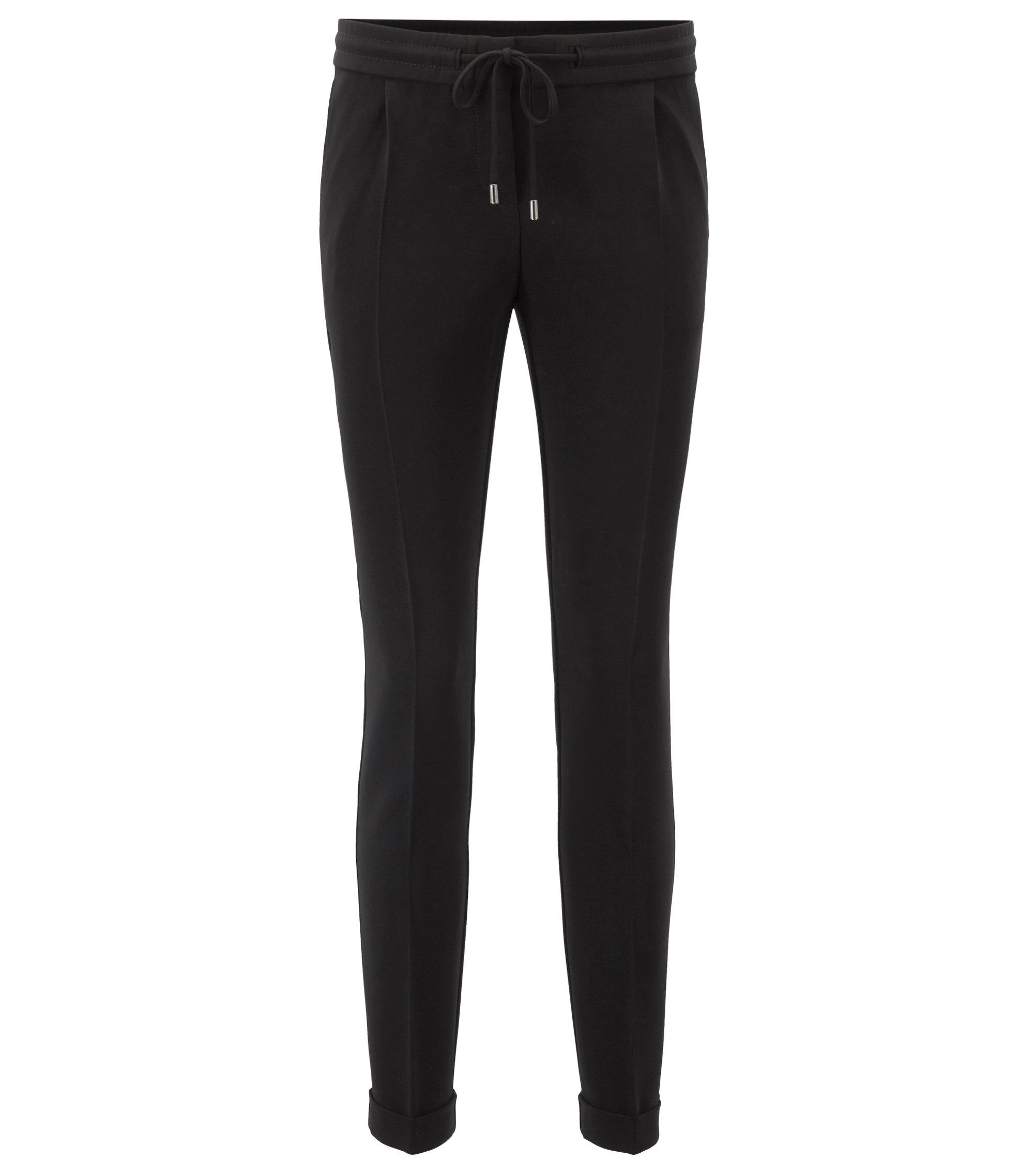 Relaxed-fit broek van kreukbestendige crêpe met tailleband met trekkoord, Zwart