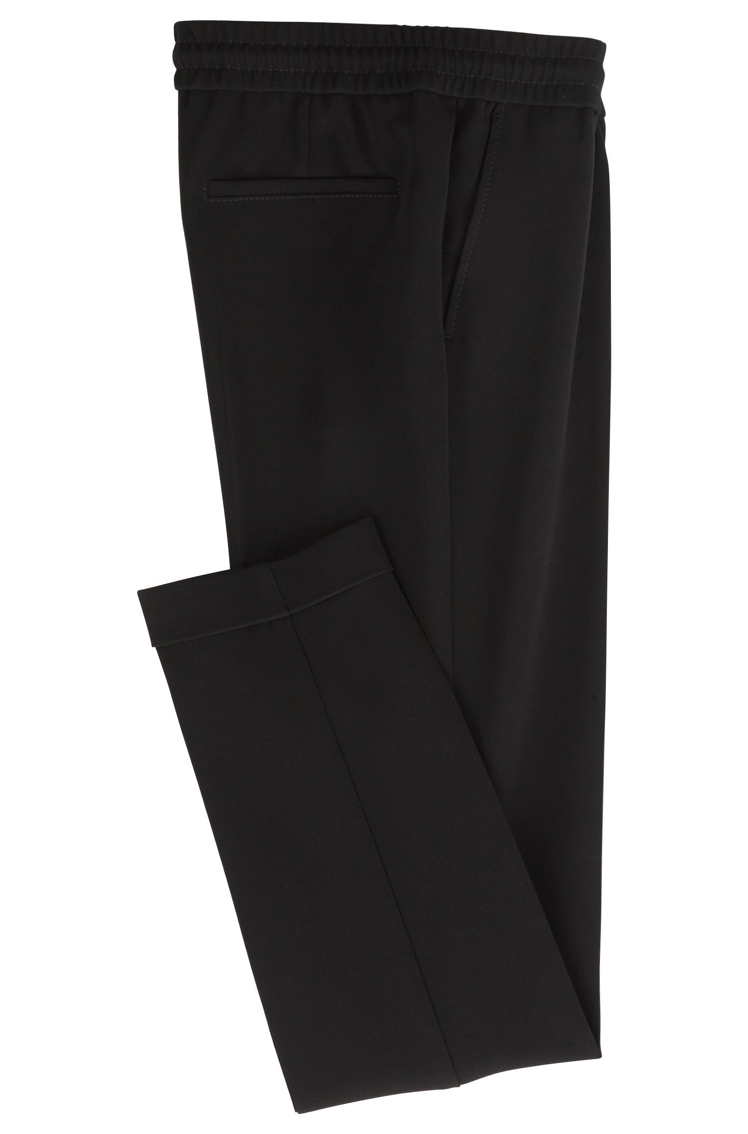 Relaxed-fit trousers in crease-resistant crepe with drawstring waist, Black