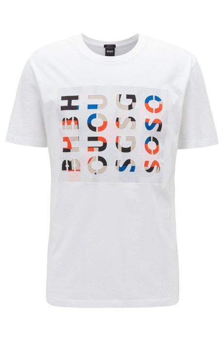 T-shirt a girocollo in cotone lavato con logo, Bianco