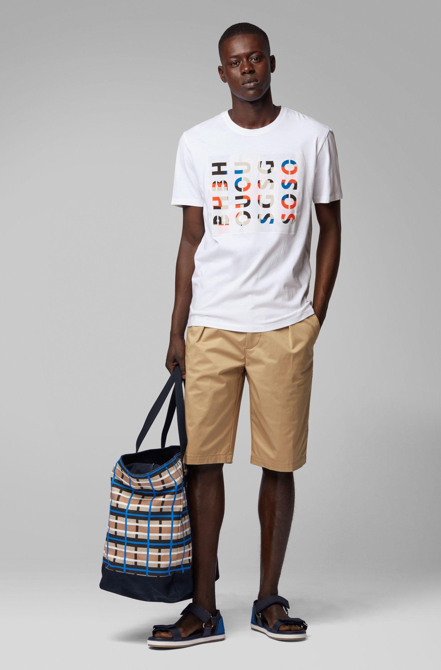 Camiseta de cuello redondo en algodón lavado con ilustración de logos, Blanco
