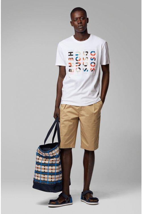 Hugo Boss - Camiseta de cuello redondo en algodón lavado con ilustración de logos - 3