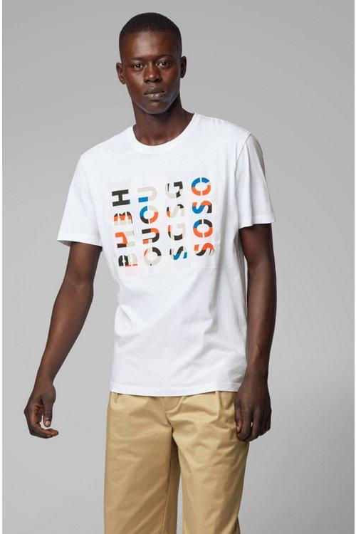 Hugo Boss - Camiseta de cuello redondo en algodón lavado con ilustración de logos - 2