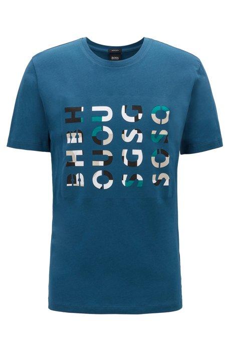 T-Shirt aus gewaschener Baumwolle mit Rundhalsausschnitt und Logo-Artwork, Blau