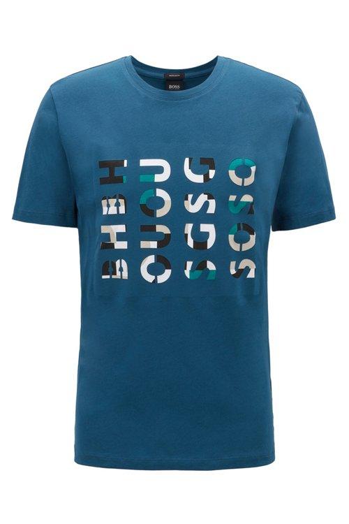 Hugo Boss - Camiseta de cuello redondo en algodón lavado con ilustración de logos - 1