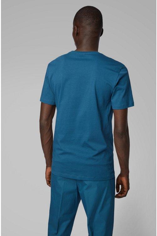 Hugo Boss - Camiseta de cuello redondo en algodón lavado con ilustración de logos - 4