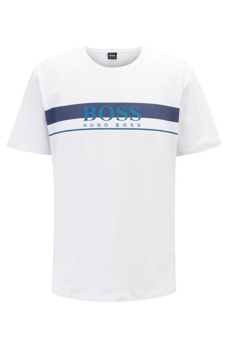 T-shirt del pigiama a girocollo con logo stampato, Bianco
