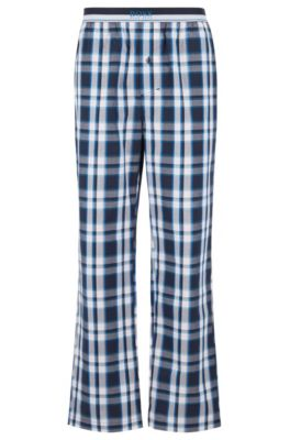 Checked pyjama trousers in cotton poplin, Blue