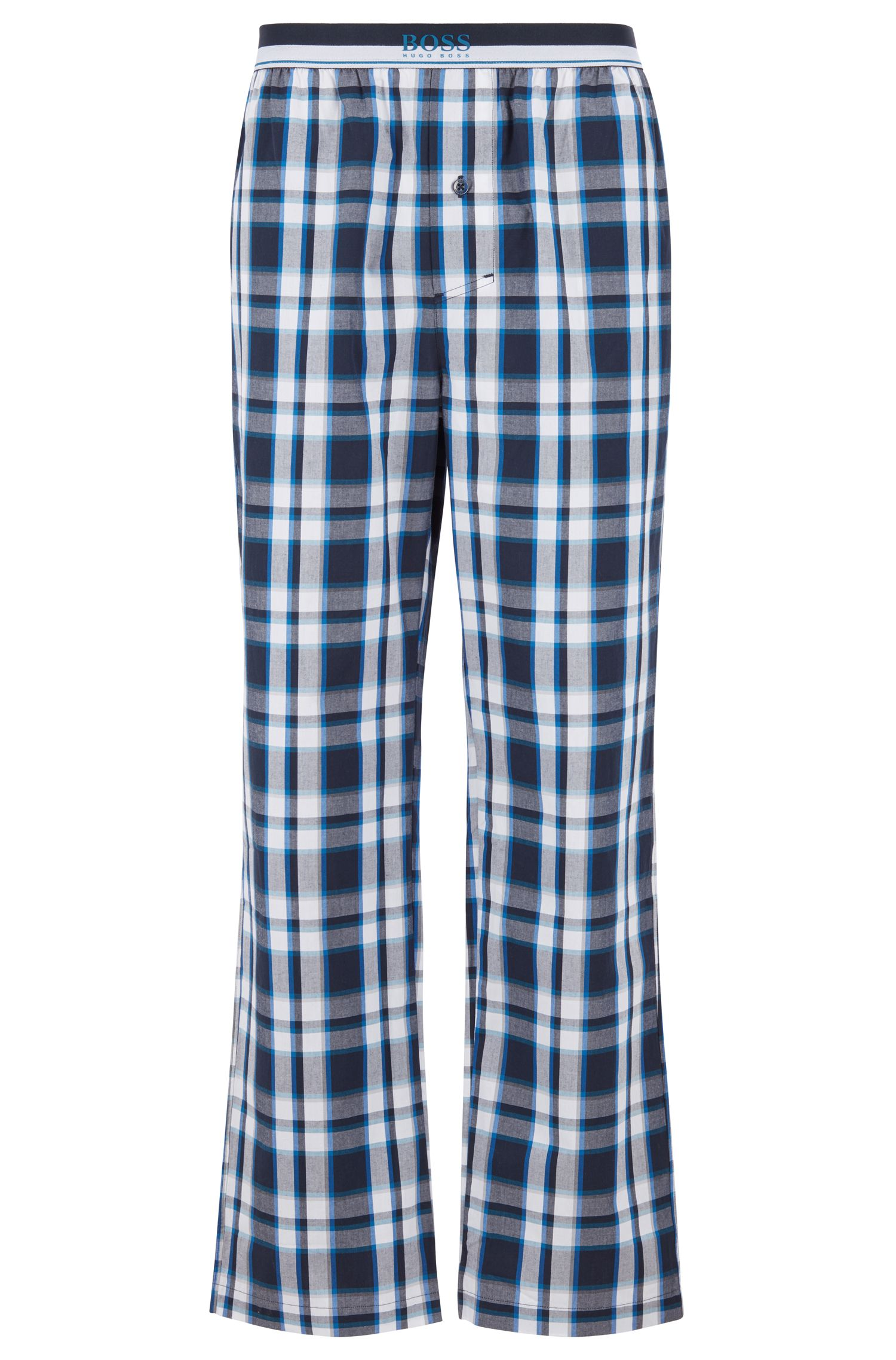Pantalon de pyjama en popeline de coton à carreaux, Bleu