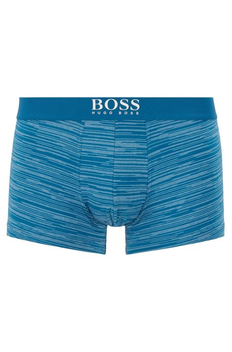 Straight-cut trunks in striped stretch cotton, Turquoise