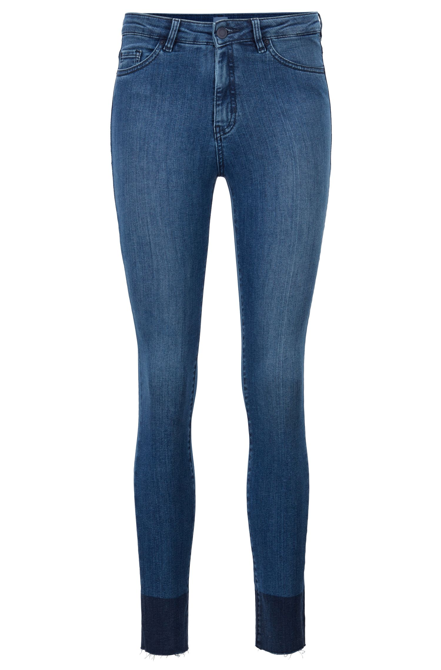 Skinny-fit jeans with coated raw-cut hems, Blue