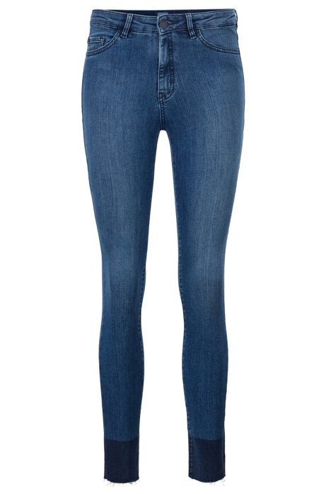 Jean Skinny Fit enduit à bords francs, Bleu