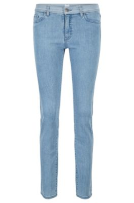 Slim-fit jeans in stretch denim with contrast waistband, Blue