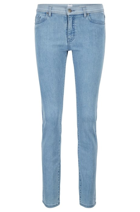 Jean Slim Fit en denim stretch à taille contrastante, Bleu