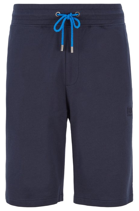 Loungewear shorts in melange French terry, Dark Blue