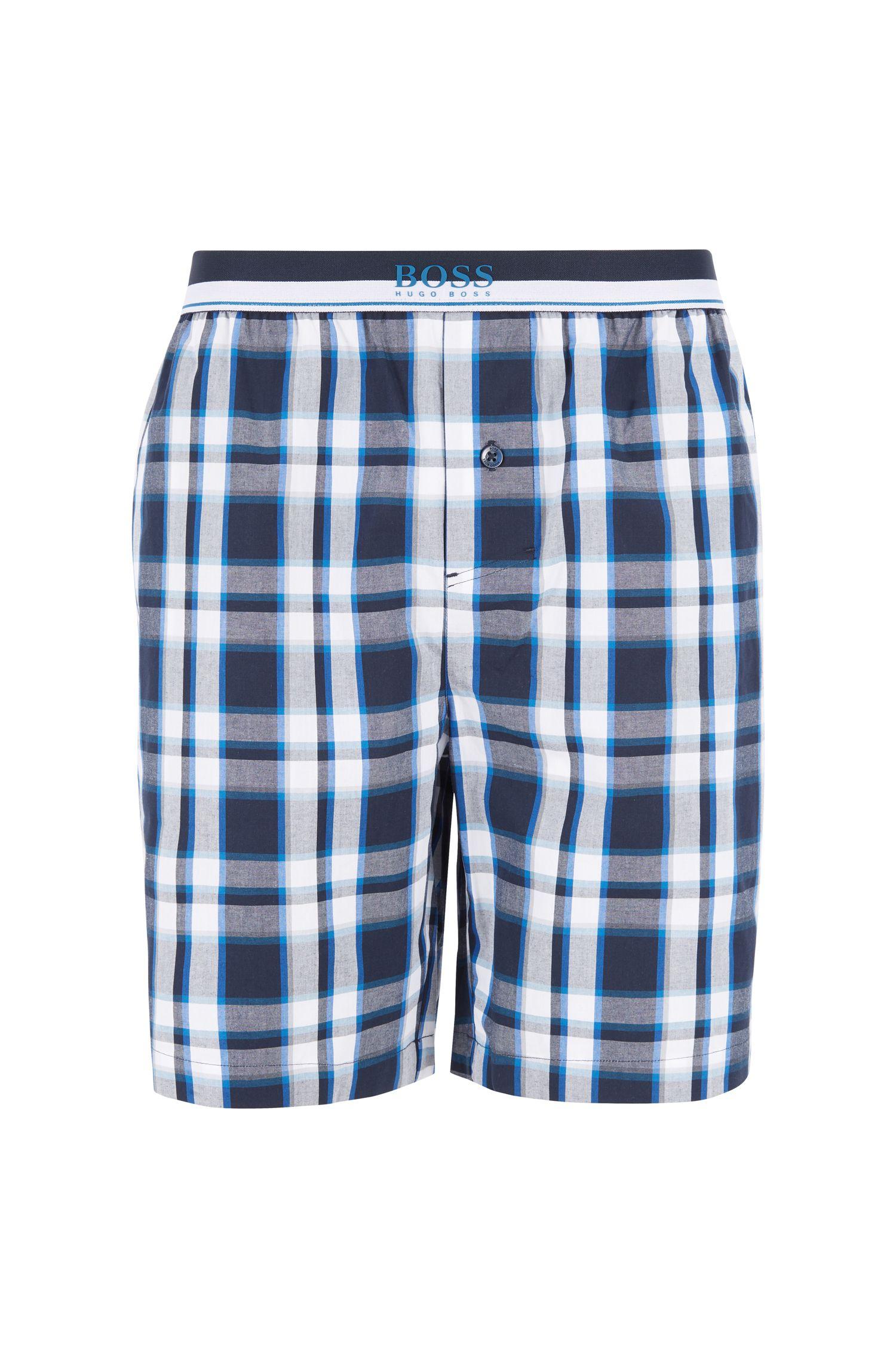 Short de pyjama en popeline de coton à carreaux, Bleu