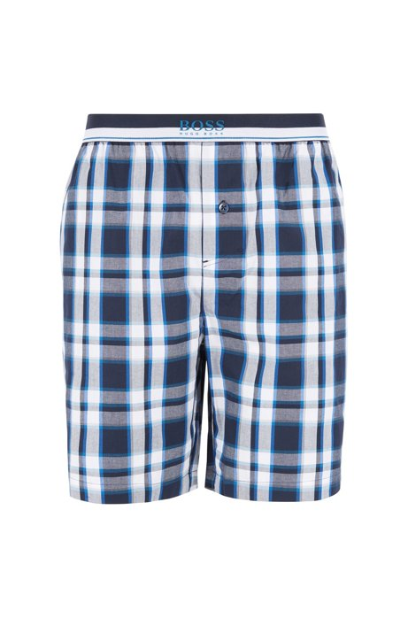 Pyjama shorts in cotton poplin with check, Blue