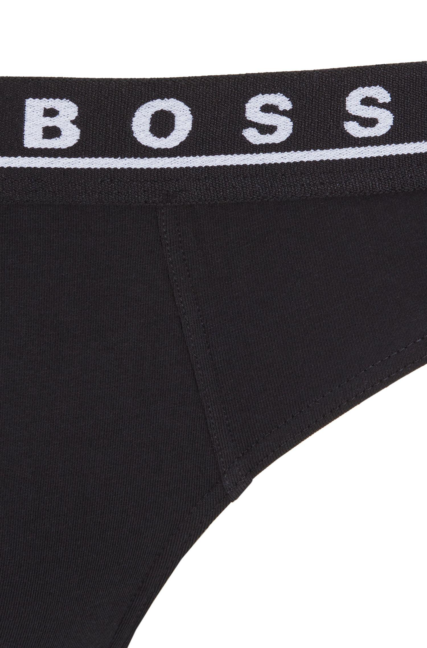 Paquete de tres slips en algodón elástico con logos en la cintura, Fantasía