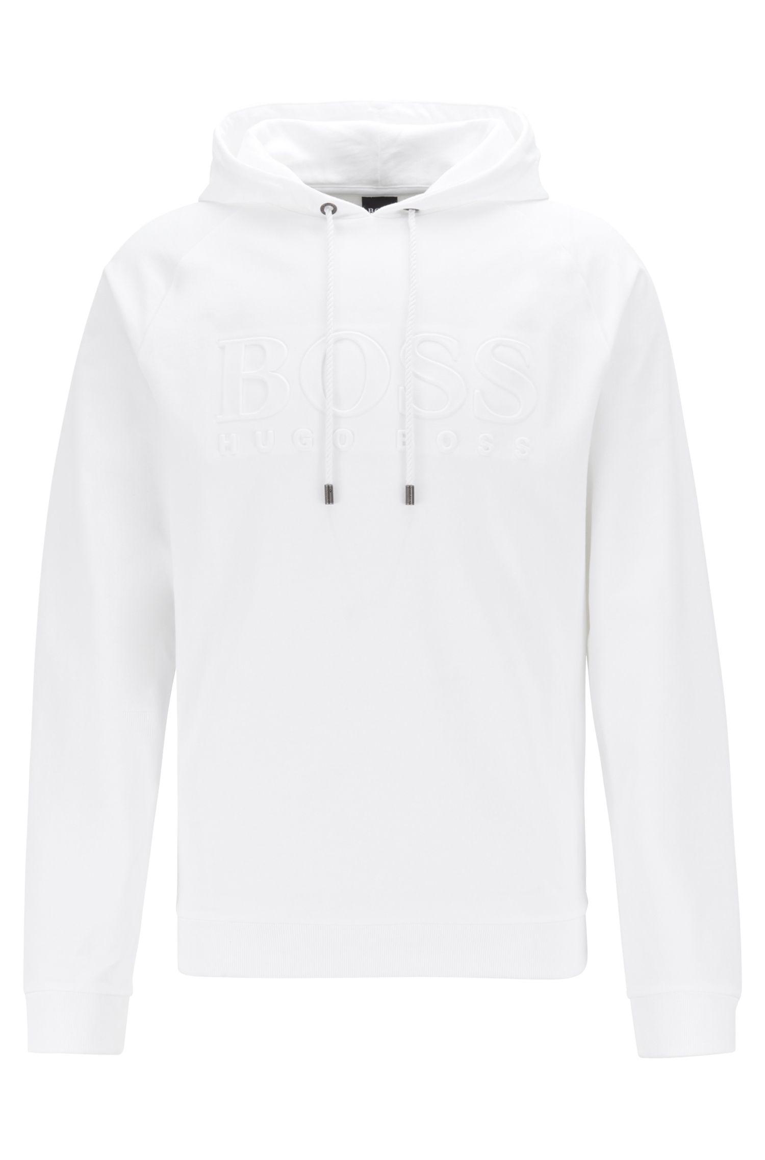 Loungesweater van badstof met capuchon en reliëflogo, Wit