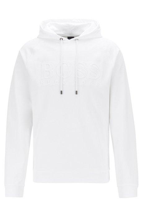 Felpa con cappuccio per l'abbigliamento da casa in french terry con logo in rilievo, Bianco