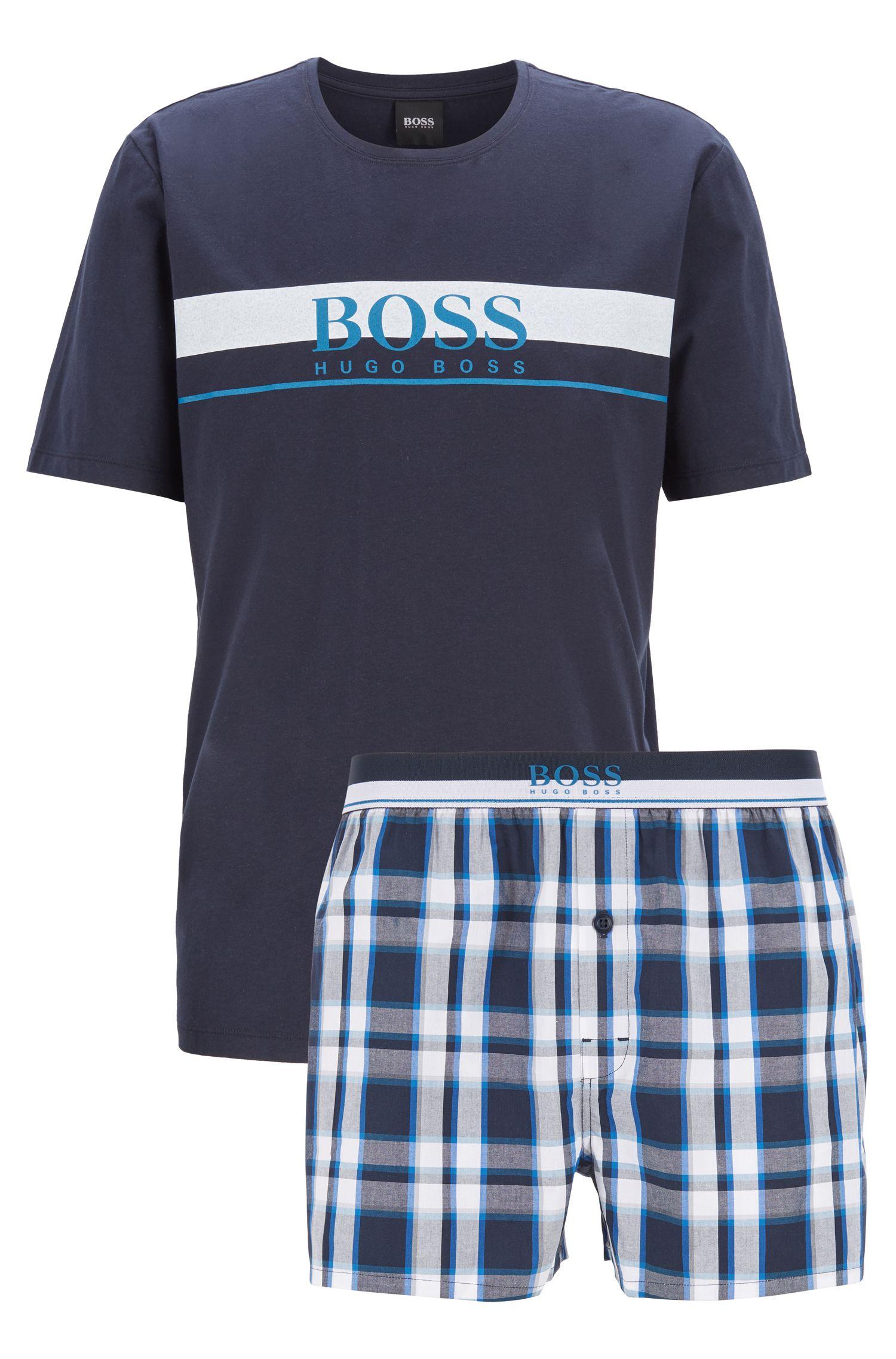 T-shirt et short de pyjama en popeline de coton à carreaux unis, Bleu
