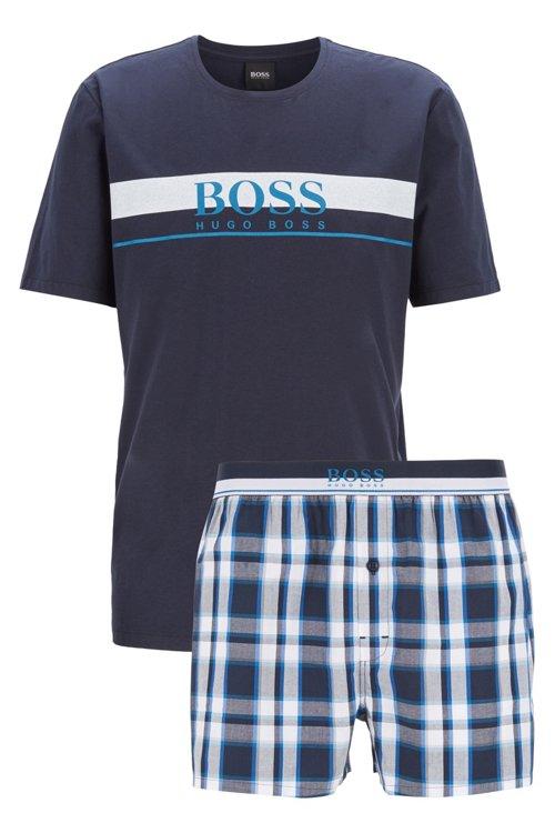 Hugo Boss - Camiseta y shorts de pijama en popelín de algodón con cuadros lisos - 1