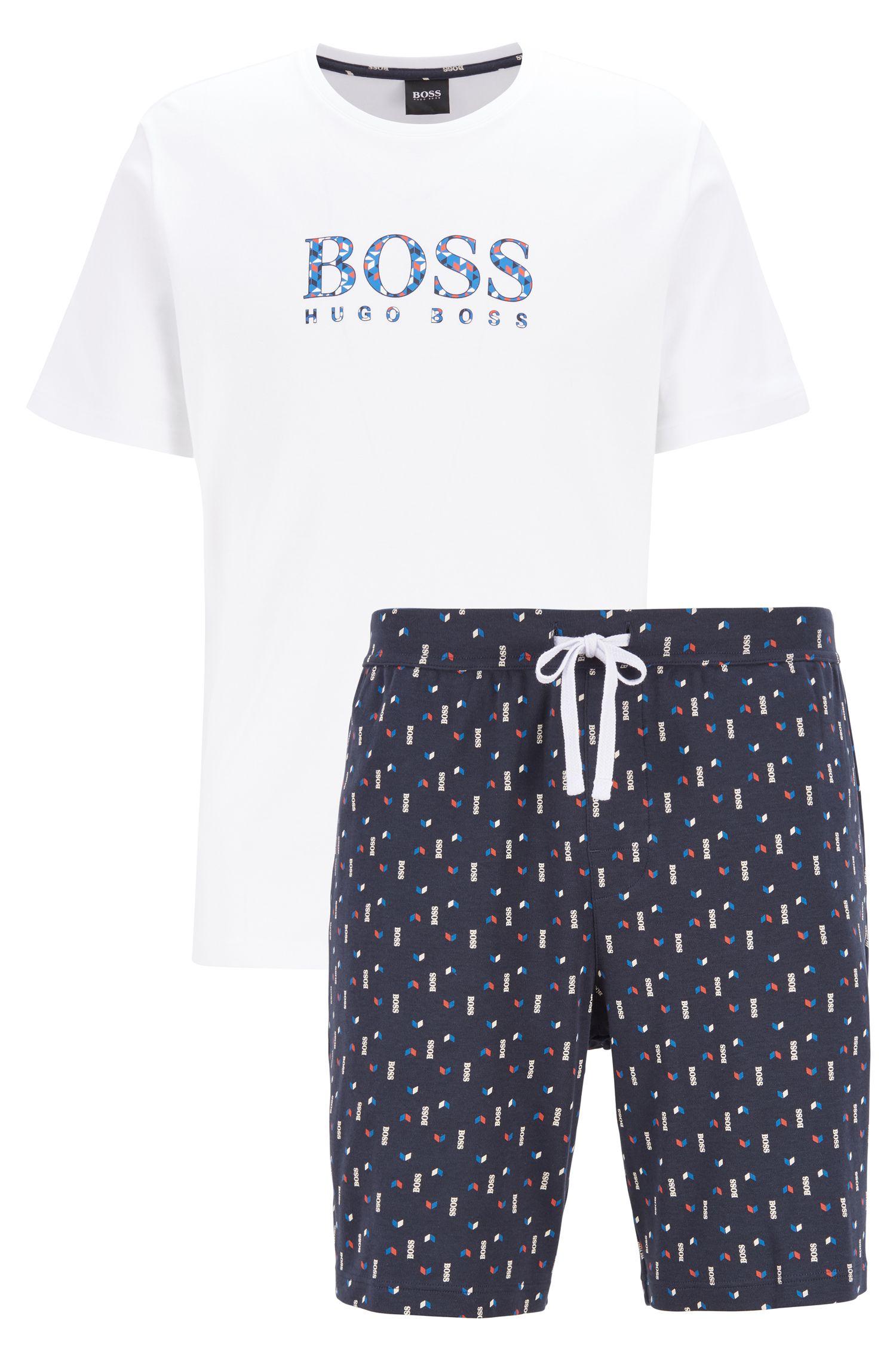 Pyjama-Set aus reiner Baumwolle mit bedruckter Shorts, Dunkelblau