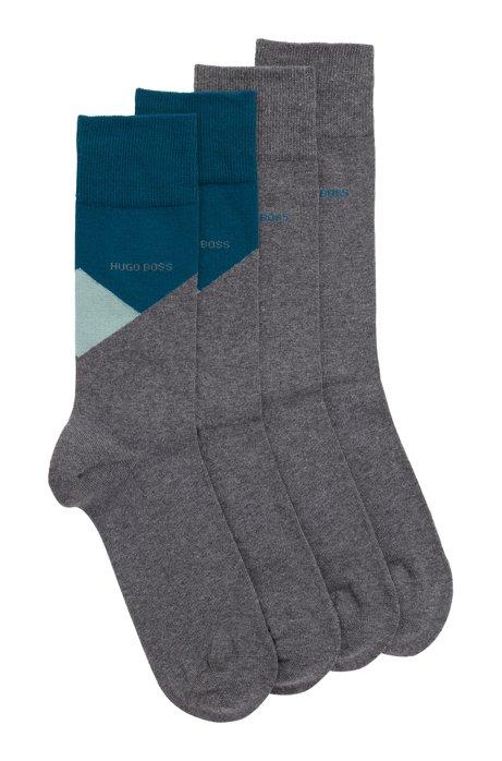 Paquete de dos pares de calcetines de largo normal en mezcla de algodón, Gris
