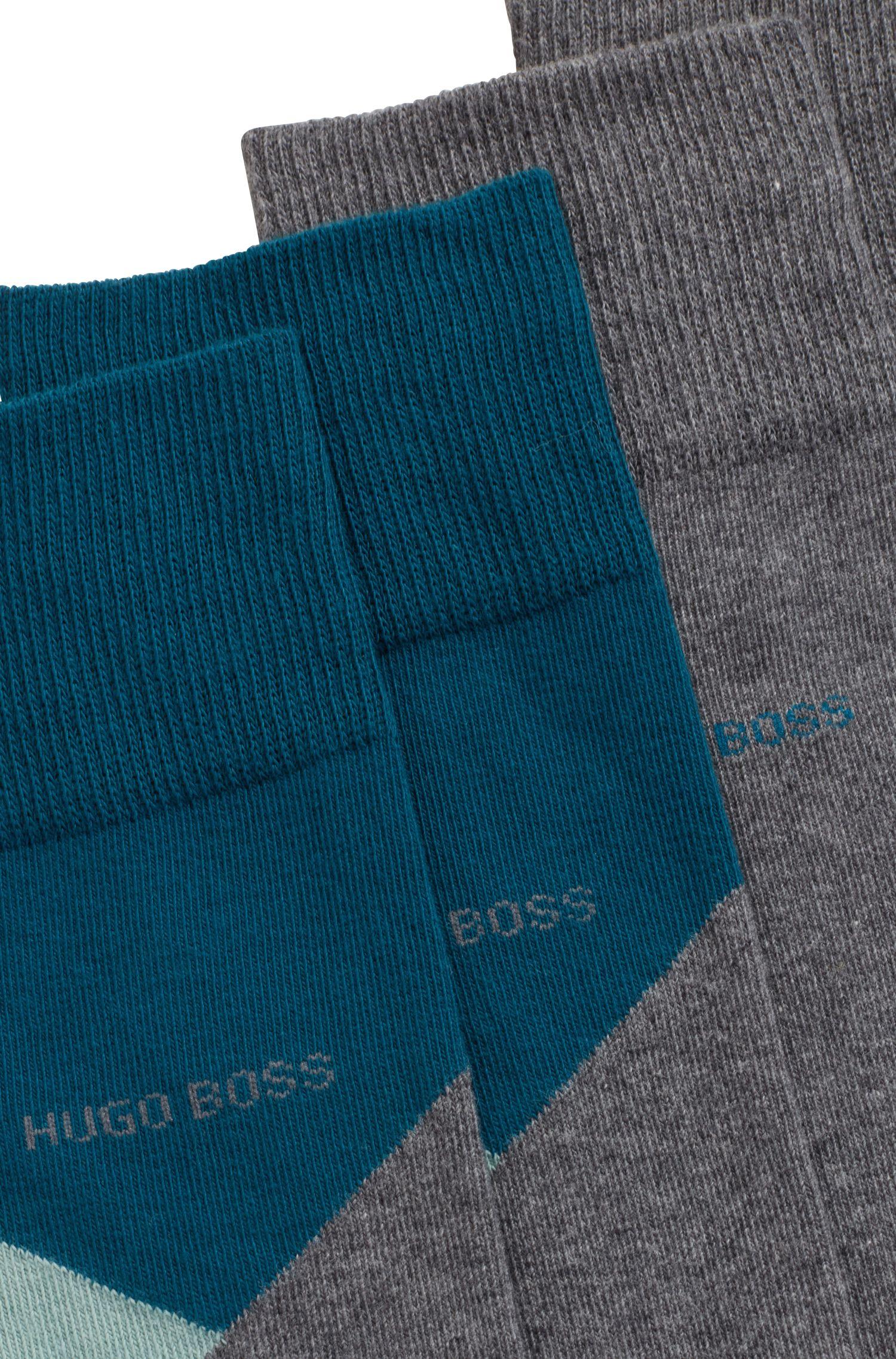 Set van twee paar sokken van een katoenmix in standaardlengte, Grijs