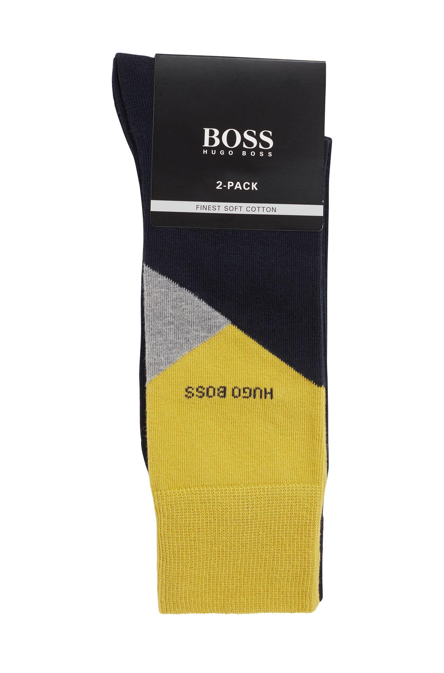 Two-pack of regular-length cotton-blend socks, Dark Blue