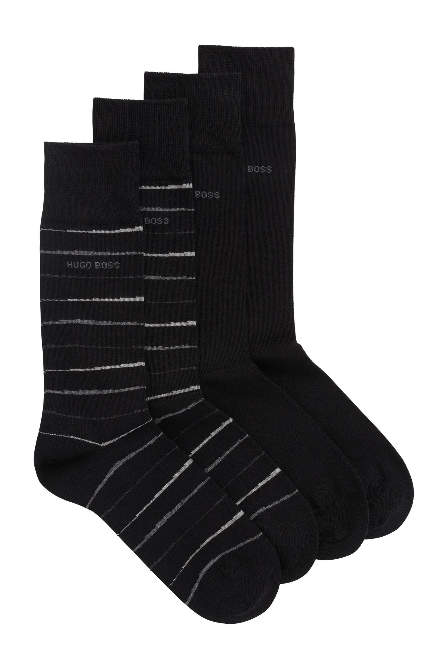 Set van twee paar sokken in standaardlengte met gekamde afwerking, Zwart